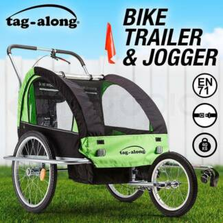 Tag-along Kids Bike Trailer Bicycle Pram Stroller Green Brand New
