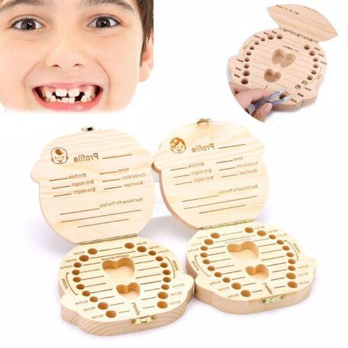 Tooth Box Organizer Kids Baby Save Milk Teeth Wood Storage Box For Boy Girl MT11