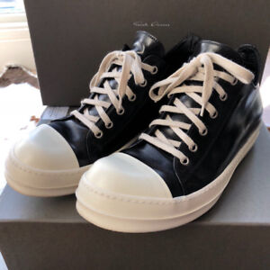 Rick Owens Black and White Leather Low Sneakers