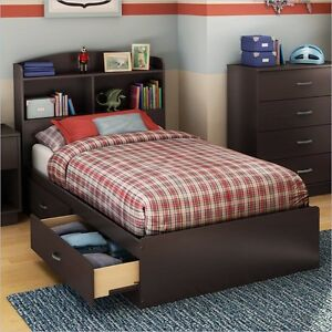 South Shore Logik Twin Mates Storage Chocolate Finish Bed