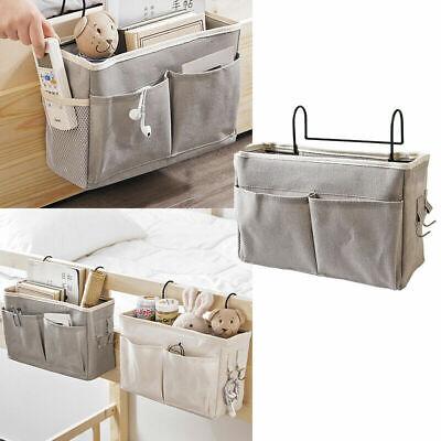 1Pc Bed Organizer Bedside Pockets Gadget Storage Holder Couch Hanging Canvas Bag