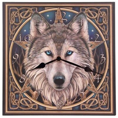 Celtic Wolf Head Picture Clock by Lisa Parker !FREE UK - Celtic Square Clock