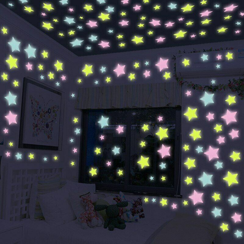 Glow In The Dark 50100200  3D Stars Half Moon Mix Color  Wall Decor 3 Sizes