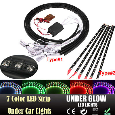 7 Color LED Strip Under Car Tube Underglow Underbody System Neon Lights Kit 2 # ()