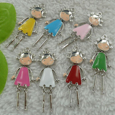 free ship 52 pieces alloy enamel mixed colors girl charms pendant 55x21mm #4490