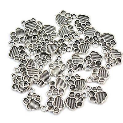 30Pcs Pet Dog Puppy Paw Print Metal Footprint Charm Necklace Bracelet Pendant - Dog Charms