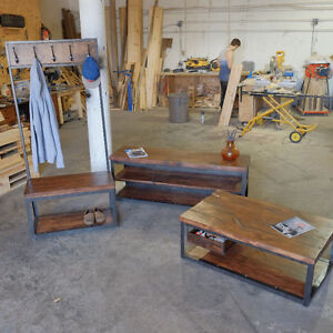2 inch Slab and Steel Coffee table w/ Pull out Crate Shelf Kitchener / Waterloo Kitchener Area image 3