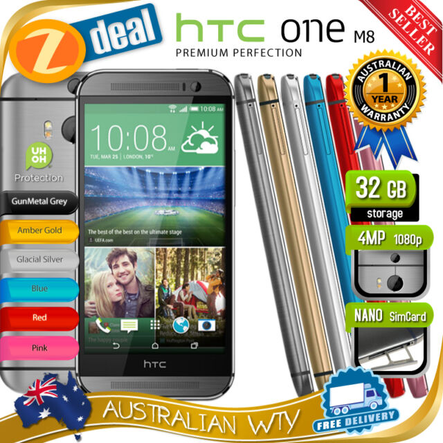 (NEW SEALED BOX) HTC ONE M8 32GB 4G LTE GREY, GOLD  FACTORY UNLOCKED + OZ WTY