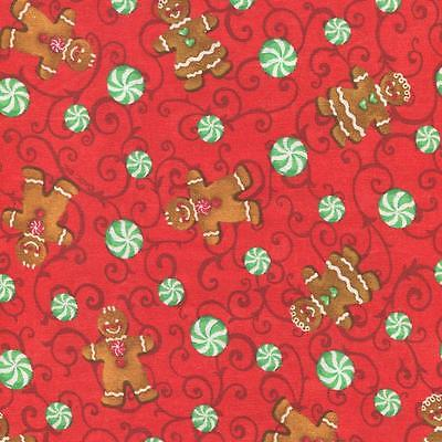 CHRISTMAS GINGERBREAD MEN & CANDY RED Cotton Fabric BTY for Quilting, Craft Etc - Gingerbread Craft