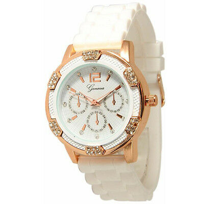 Women's Rose Gold Chronograph Silicone with Crystal Rhinestones Wristwatches smt