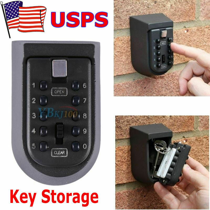 10 Digit Combination Hide Key Lock Box Storage Wall Mount Security Outdoor Case