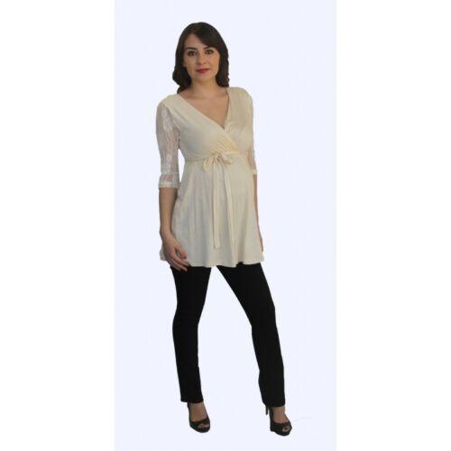 Long Sleeve Cream Lace Black Pants Maternity Set Two Piece Pregnancy Womens
