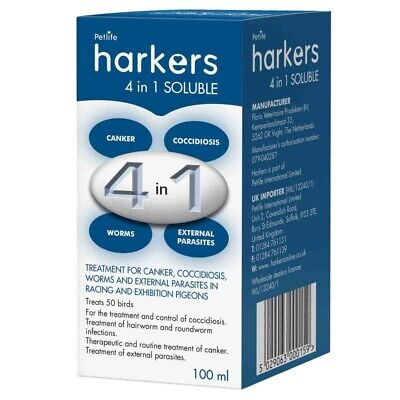 Harkers 4 in 1 soluble, cocci, canker, worms and lice. Racing pigeon, loft