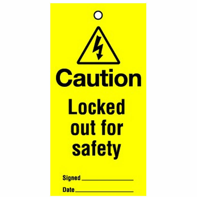 Lockout Tag Locked Out For Safety 100mm (10)