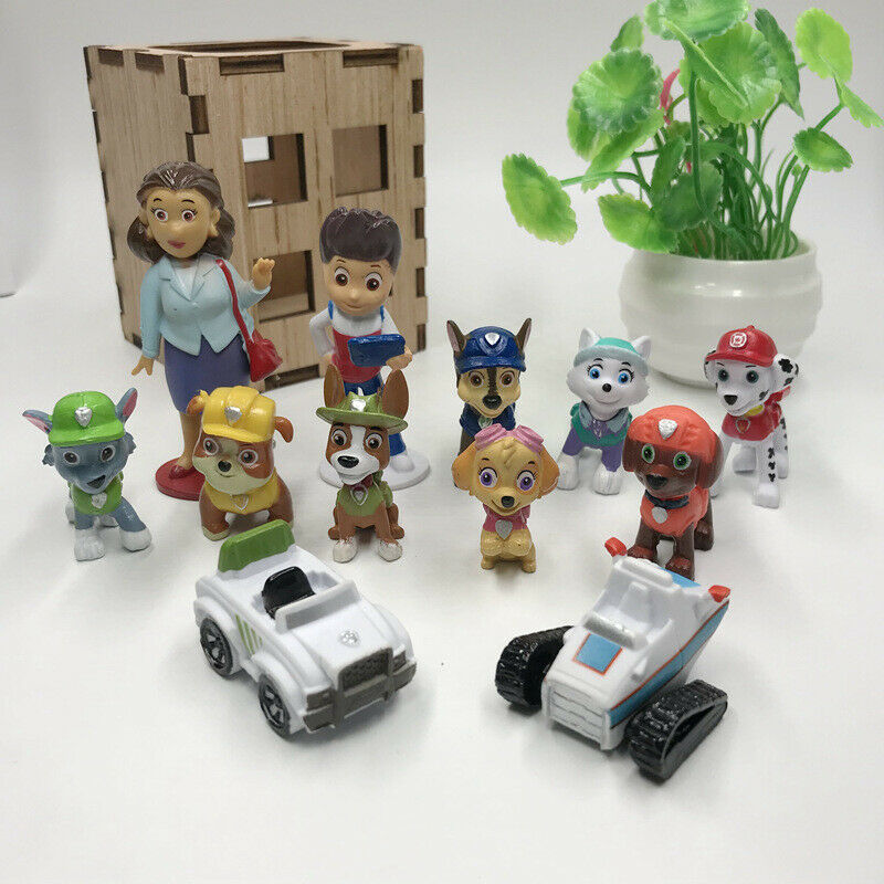 Paw Patrol Ryber Pups Vehicles 12 PCS Cute Figure Cake Toppe