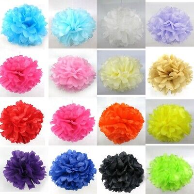 10PCS Tissue Paper Pom Poms Flower Balls Wedding Party Hanging Decor 6