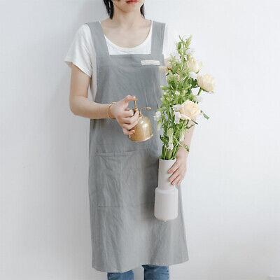 Women Cotton Linen Cross Back Apron Japanese Housework Bakin