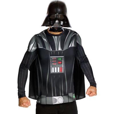 STAR WARS DARTH VADER MASK SHIRT CAPE COSTUME HALLOWEEN COSPLAY ADULT MED LARGE