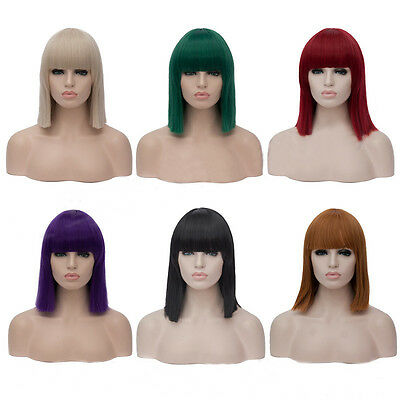Green Blue Purple White 40cm Short Bob Synthetic Hair With bangs Cosplay Wig](Purple Bob)