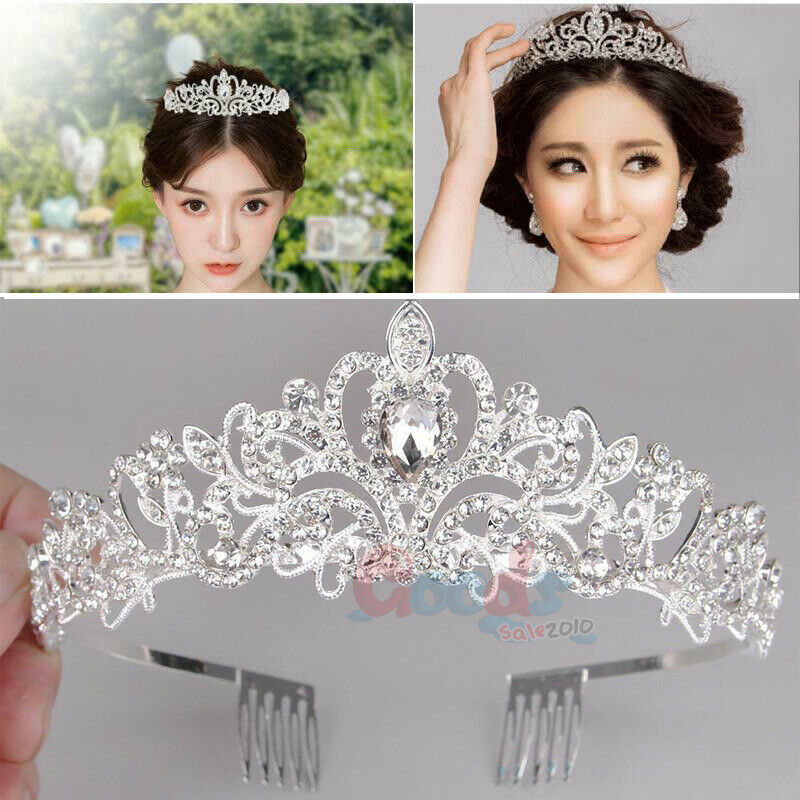 Vintage Wedding Bridal Crystal Diamo Headband Queen Crown Tiara Hair Accessories