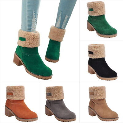 Women Snow Boots Warm Shoes Ladies Square Heels Ankle Boots