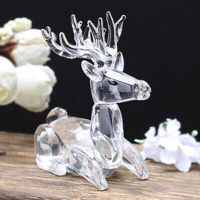 Crystal Deer Figurine Handmade Glass Moose Cute Animal Sculpture Ornament Gift