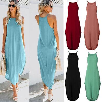 Womens Summer Sleeveless Tunic Dress High Split T Shirt Evening Dress Maxi Dress