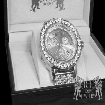 Full Iced Out White Gold Tone  New Real Diamond Custom Band Big Face Watch Men's ()