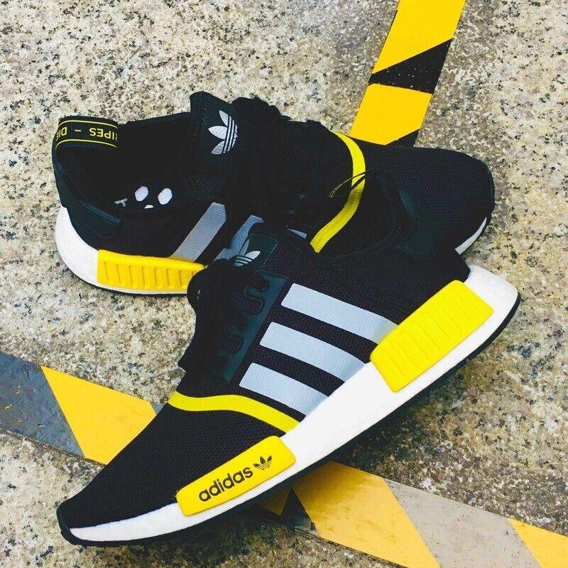 adidas Originals NMD R1 Men's Shoes Lifestyle Comfy Sneakers BlackYellow