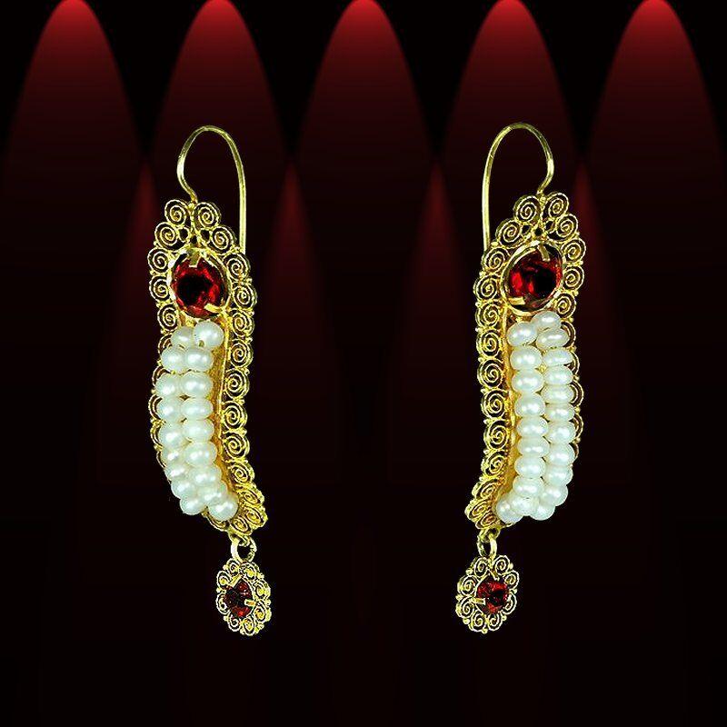 Beautiful yellow gold pearl Frida gusano earrings, red crystals, dangles M-F