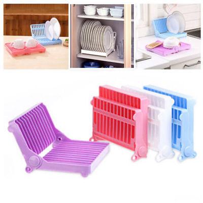 Kitchen Plate Dish Drying Organizer Rack Drainer Plastic Storage Holder Foldable ()