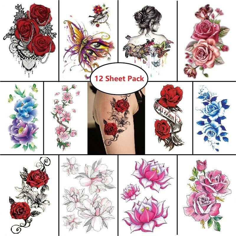 12pc Temporary Tattoo Feminine Sticker Waterproof Body Art Rose Floral Butterfly Health & Beauty
