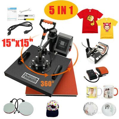 15x15 5in1 Combo T-shirt Heat Press Transfer Machine Sublimation Printer Us
