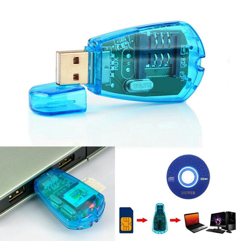 USB Cellphone Standard SIM Card Reader Copy Writer SMS Backup GSM/CDMA + CD Set