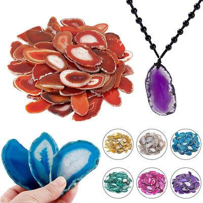 Agate Polished Irregular Crystal Slice Brazil Healing Reiki Stone Pendant Gift