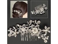 Wedding pearl crystal hair comb clip