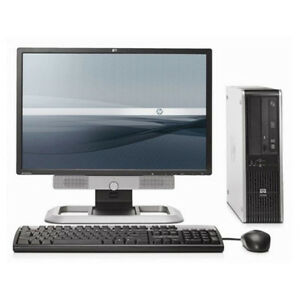 "Hp Elite SFF Desktop intel E8400 4GB RAM 500HD Win7 Pro 19"" LCD"