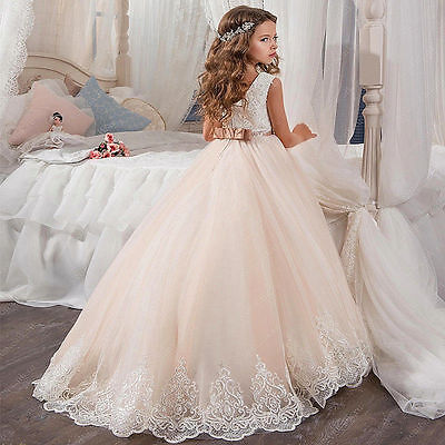 new vintage flower girl dresses for weddings lace bow kids first