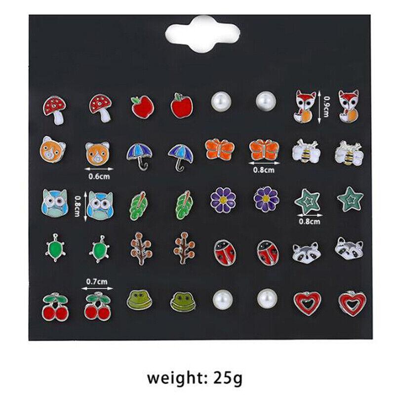 20Pairs/set Cute Fruit Animal  Flower Stud Earrings For Girl