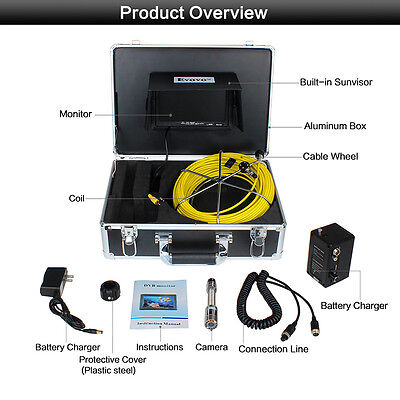 50m Endoscope Inspection Camera 12led 7 Monitor For Sewer Pipe Pipeline Drain
