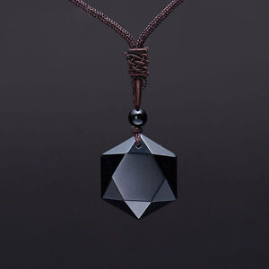 Amulet necklace ebay natural black obsidian cubic hexagram pendant necklace amulet talisman david aloadofball Choice Image
