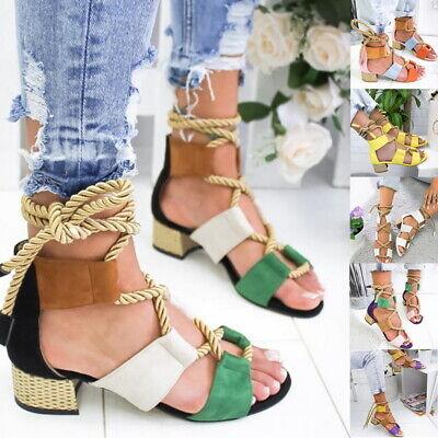 Tie Platform Sandal (Womens Ladies Lace Up Tie Up Espadrilles Platform Shoes Wedge Sandals Size )