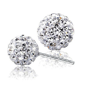 S925 Swarovski elements crystal stud ball earrings, womens, free gift