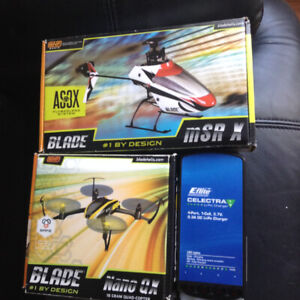 Helicopter + Quad-copter.Both are Blade Brand.plus DX6I Radio T.