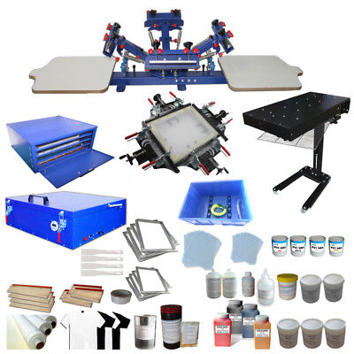 4 Color 2 Station Screen Printing Kit Press Machine Exposure Unit Flas Dryer