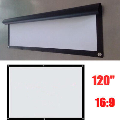 120 169 Manual Pull Down Projector Projection Screen Home Theater Party Movie