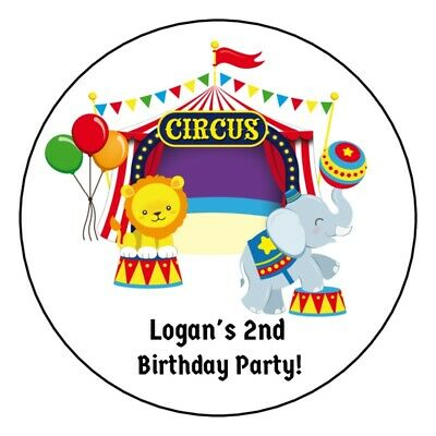 12 Personalized Circus Birthday Party Stickers labels favors tent elephant tags