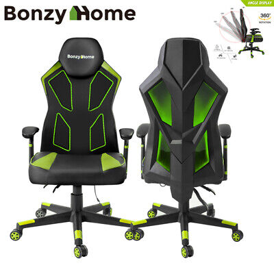Gaming Chair Ergonomic Leather 360 Swivel Led Racing Office Computer Chair
