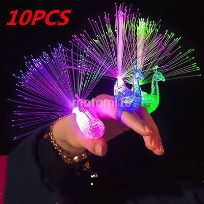 Wholesale 10X Colorful LED Light-up Rings Peacock Finger Light Party Gadgets - Led Rings Wholesale
