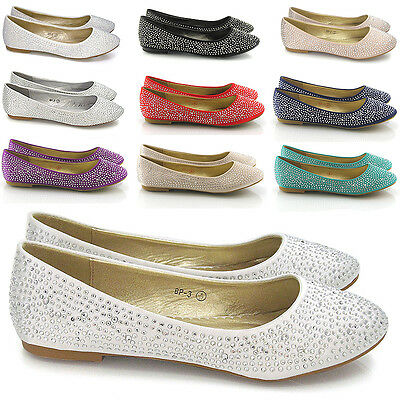 New Womens Brial Diamante Ladies Sparkly Slip On Bridesmaid Shoes Pumps Size